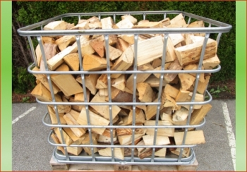 Fichte-Tanne | 1 rm - Gitterbox | Holzstück-Länge ca. 20 cm feines Holz